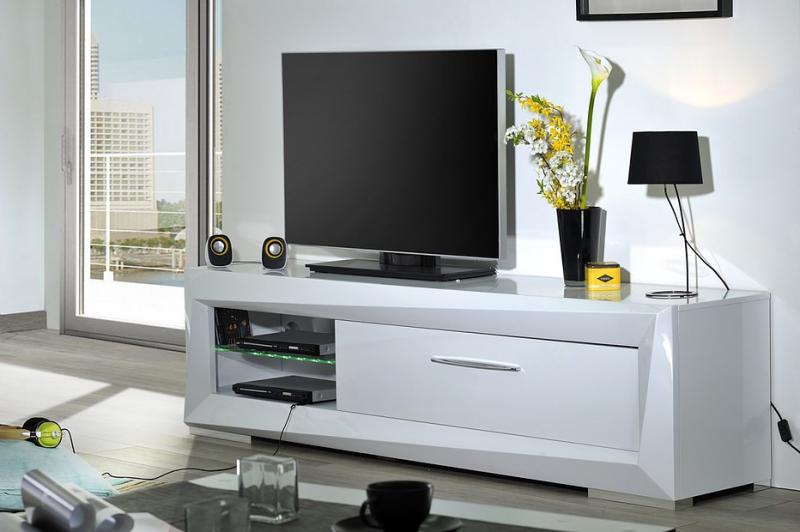 Meuble tv hifi brook armonia armonia for Meuble hifi blanc